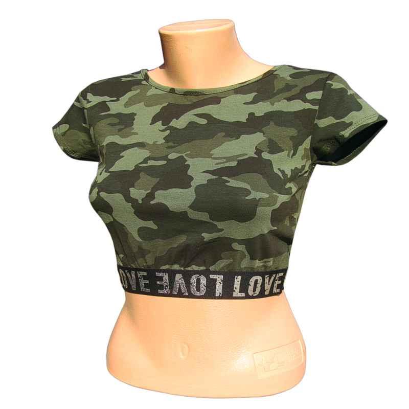 699e3090876a Tričko dámske maskáčové krátke LOVE