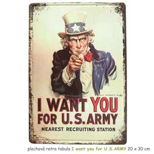 plechová retro tabula I want you for U.S.ARMY 20 x 30 cm
